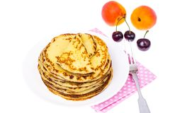 Delicious milk thin pancakes Royalty Free Stock Photo