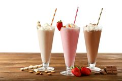 Delicious milkshakes on background stock photo