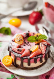 Delicious mini cheesecake decorated with berries and chocolate Stock Photos