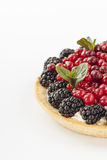 Delicious mini tart with fresh red currants, blackberries, raspberries, strawberries and cream. Delicious mini tart with fresh red currants, blackberries Stock Photography