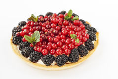 Delicious mini tart with fresh red currants, blackberries, raspberries, strawberries and cream. Delicious mini tart with fresh red currants, blackberries Royalty Free Stock Image