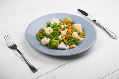 Delicious mix of vegetables on the plate. View from above. royalty free stock photo