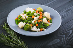 Delicious mix of vegetables on the plate. View from above. Royalty Free Stock Images