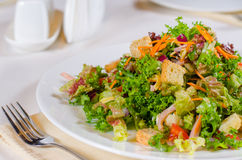 Delicious mixed salad with fried crunchy croutons Royalty Free Stock Photo