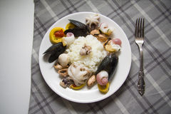 Delicious molluscs and rice Royalty Free Stock Image