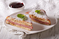 Delicious of Monte Cristo sandwich and jam. horizontal Royalty Free Stock Photos