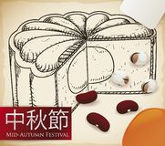 Delicious Mooncake in Hand Drawn Style for Mid-Autumn Festival, Vector Illustration Royalty Free Illustration