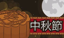 Delicious Mooncake and Full Moon for Chinese Mid-Autumn Festival, Vector Illustration royalty free illustration