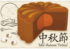 Delicious Mooncake over Scroll with Moon Drawing for Mid-Autumn Festival, Vector Illustration Royalty Free Illustration