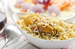 Delicious mouthwatering  Biryani with salad Stock Photo