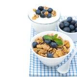 Delicious muesli, fresh blueberries and yogurt, isolated Royalty Free Stock Image