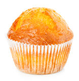 Delicious muffin close-up isolated on white background Stock Photo