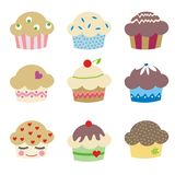 Delicious muffins. Set of 9 delicious muffins Royalty Free Stock Photos