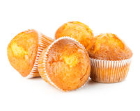 Delicious muffins close-up isolated on white background Royalty Free Stock Photo