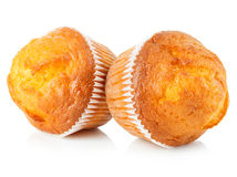 Delicious muffins close-up isolated on white background Royalty Free Stock Photography