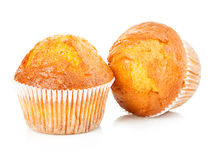 Delicious muffins close-up isolated on white background Stock Photo