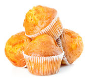 Delicious muffins close-up isolated on white background Royalty Free Stock Photos