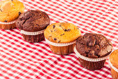 Delicious muffins row. Some delicious homemade muffins with chocolate drops on a red and white checkered tablecloth Royalty Free Stock Image