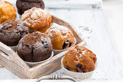 Delicious muffins on a wooden tray on white background Stock Photo