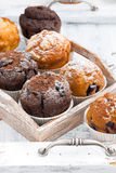 Delicious muffins on a wooden tray on white background, vertical Royalty Free Stock Images