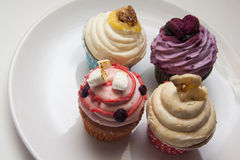 Delicious multicolor cupcakes ounder contrast lightming Stock Image
