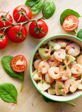 Delicious multicolored pasta with shrimps Royalty Free Stock Photography