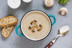 Mushroom champignon cream soup with toast on grey concrete table. View from above. Delicious mushroom champignon cream soup with toast on grey concrete table royalty free stock photos
