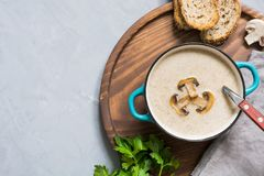 Delicious mushroom champignon soup on grey concrete table. View from above. Space for text. Delicious mushroom champignon soup on grey concrete table. Horizontal royalty free stock image