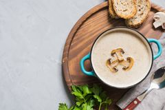 Delicious mushroom champignon soup on grey concrete table. View from above. Space for text. Delicious mushroom champignon soup on grey concrete table. Horizontal stock images