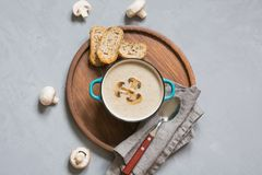 Delicious mushroom champignon soup with toast on grey concrete table. View from above. Delicious mushroom champignon soup with toast on grey concrete table royalty free stock photos