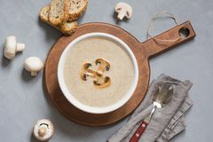 Delicious mushroom champignon soup with toast on grey concrete table. View from above. Delicious mushroom champignon soup with toast on grey concrete table stock image