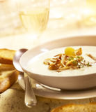 Delicious mushroom soup with bread and wine Royalty Free Stock Images