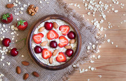 Delicious natural breakfast oatmeal porridge with stock image
