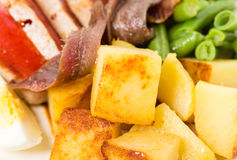 Delicious nicoise salad with anchovies and potatoes. Stock Image