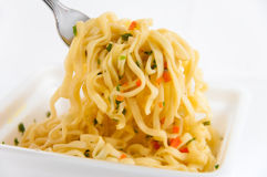 Delicious noodle cooking with spices. Royalty Free Stock Photos