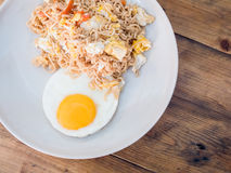 Delicious noodle with sunny up fried egg Stock Photography