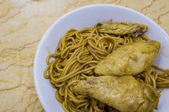 Delicious noodles in Restaurante Birmanes Nga Heong Stock Photos