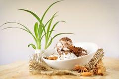 Delicious nut ice cream scoops Stock Photos