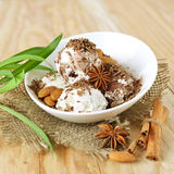 Delicious nut ice cream Stock Image
