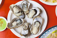 Delicious and nutrition sea food  ,barbecue Oysters with mustard Stock Photography