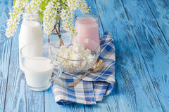 Delicious, nutritious and fresh plain yogurt and milk bottle. Royalty Free Stock Images