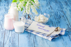 Delicious, nutritious and fresh plain yogurt and milk bottle. Stock Photos