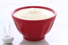 Red bowl plain yogurt. Delicious, nutritious and healthy fresh plain yogurt on vintage french cafe au lait bowl Royalty Free Stock Image
