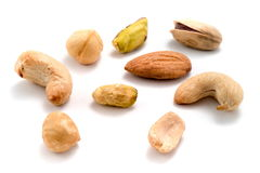 Delicious And Nutritious Nuts Isolated On White Royalty Free Stock Photos