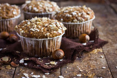 Delicious oat and nut muffin Royalty Free Stock Images