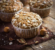 Delicious oat and nut muffin Stock Images