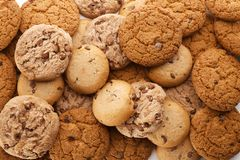 Delicious oatmeal cookies with chocolate chips. As background Stock Photos