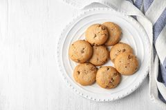 Delicious oatmeal cookies with chocolate chips. On plate Stock Photography