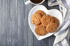 Delicious oatmeal cookies with chocolate chips Stock Photo