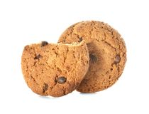Delicious oatmeal cookies with chocolate chips. On white background Royalty Free Stock Photo